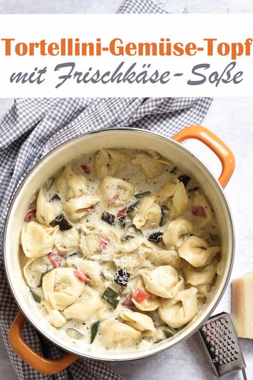All in One Gericht: Tortellini Gemüse Topf, Zucchini, Auberginen und Paprikaschoten in einer leckeren mit italienischen Kräutern gewürzten Frischkäsesoße, vegetarisch, vegan möglich, Thermomix