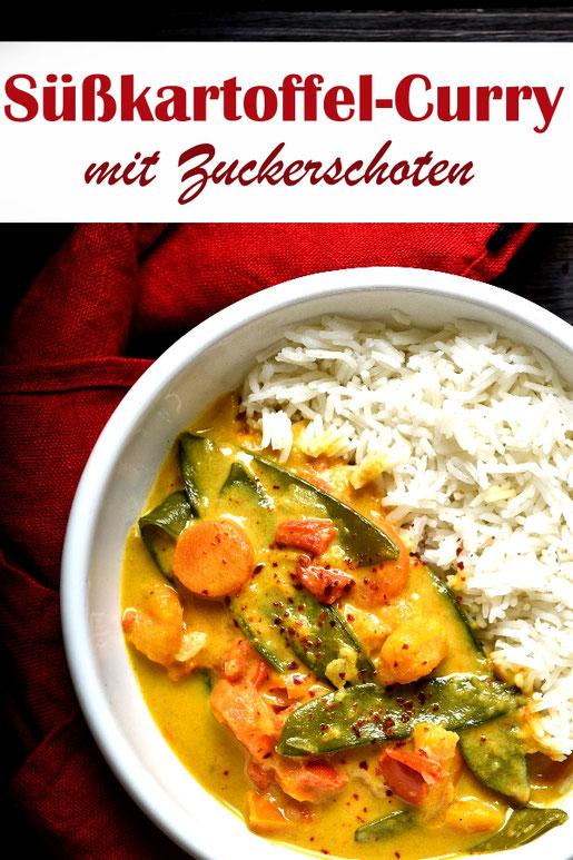 Süßkartoffel Curry mit Zuckerschoten, Möhren und Paprika, gekocht in Kokosmilch, dazu Reis, z.B. aus dem Thermomix, vegan, vegetarisch