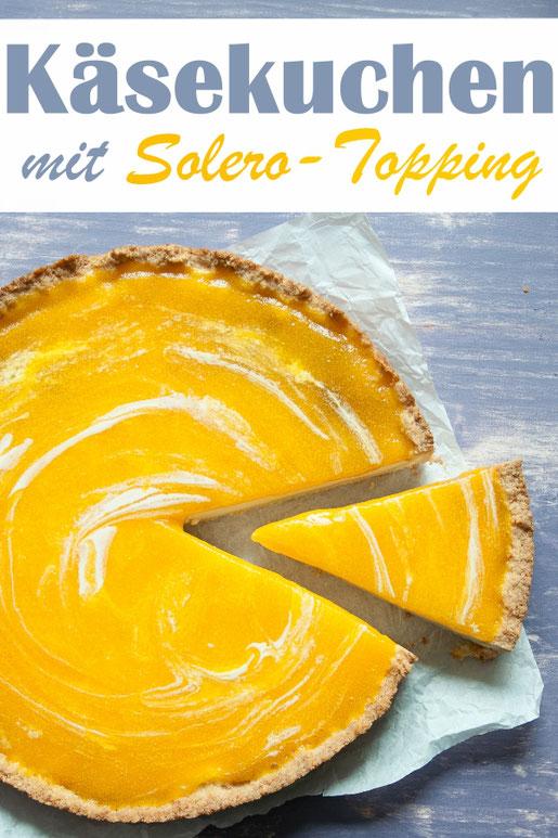 Käsekuchen mit Solero-Topping (Maracuja) eine fruchtige Kombi für alle Käsekuchen Fans. Vegan möglich!