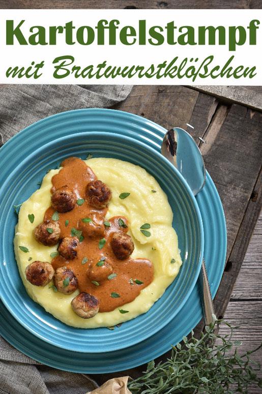 Kartoffelstampf mit Pilzrahmsoße und Bratwurstklößchen, Mittagessen, vegetarisch, vegan machbar, Thermomix