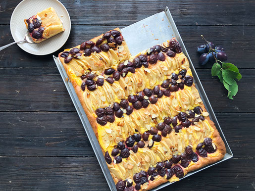 Apfel Zwetschgen Kuchen Mit Schmand Vanille Creme Essen