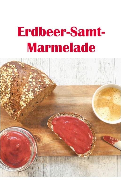 Erdbeer-Samt-Marmelade ohne Industriezucker / weißen Zucker