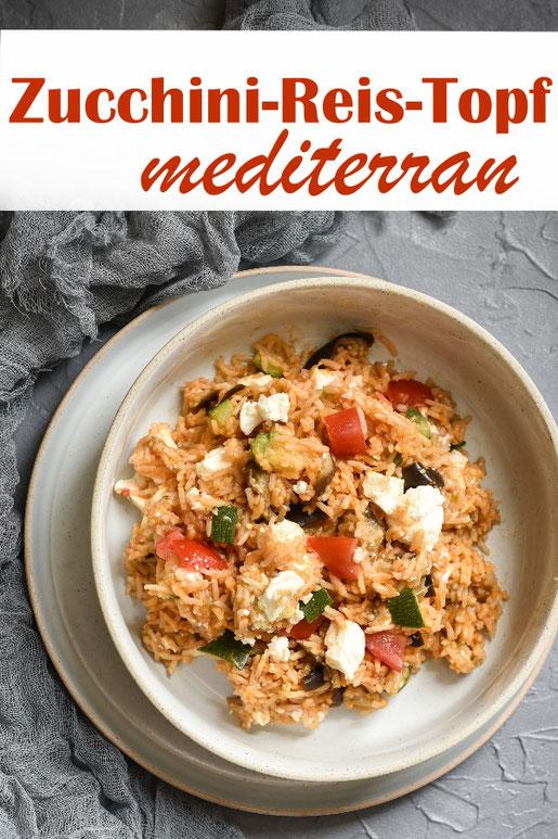 Leckerer mediterraner Gemüse Reis Topf mit Zucchini, Aubergine, Tomaten und Feta, ALL IN ONE Gericht aus dem Thermomix, vegetarisch, vegan machbar