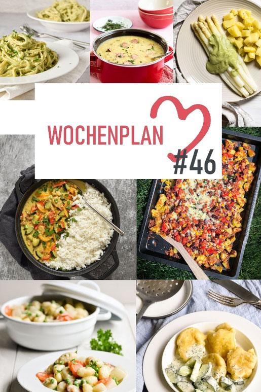 Was soll es die Woche bloß zu essen geben? Ich habe dir hier eine ganze Woche an leckeren Rezepten zusammengestellt - du kannst sie alle vegan oder vegetarisch kochen - der mix dich glücklich Wochenplan für den Thermomix - Nummer 46