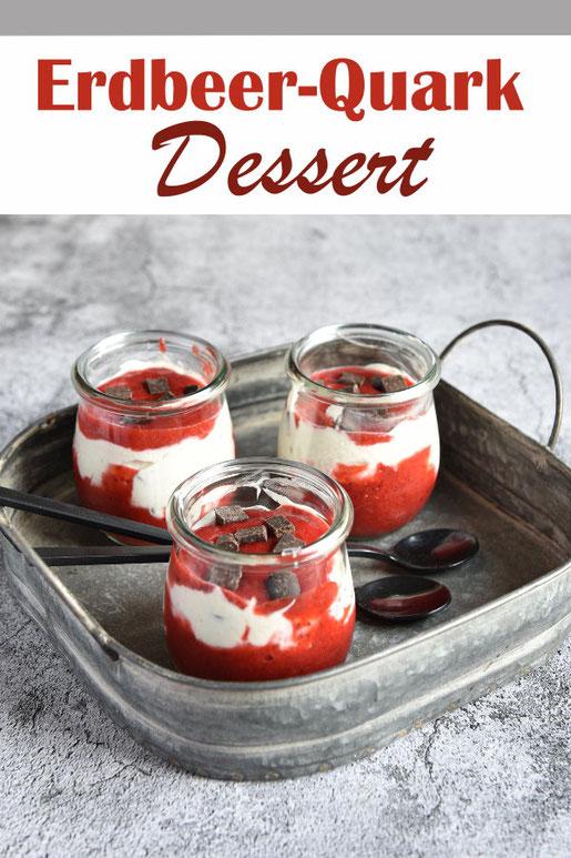 Erdbeer Quark Dessert mit frischen Erdbeeren oder TK Erdbeeren, mit Schokostücken, vegan möglich mit Sojaquark oder Soja-Skyr, Thermomix