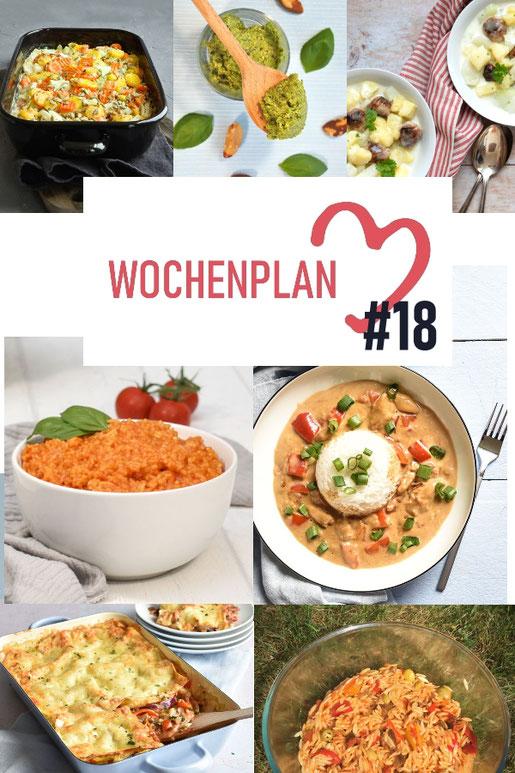 Was soll es die Woche bloß zu essen geben? Ich habe dir hier eine ganze Woche an leckeren Rezepten zusammengestellt - du kannst sie alle vegan oder vegetarisch kochen - der mix dich glücklich Wochenplan für den Thermomix - Nummer 18