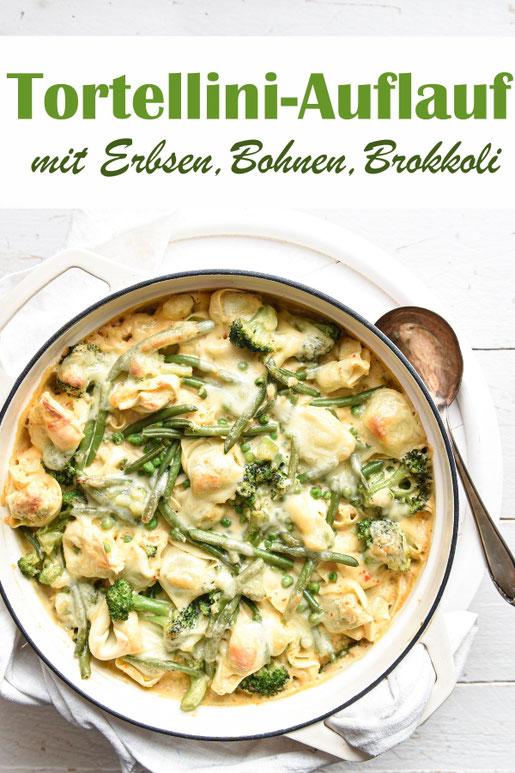 Grüner Tortellini Auflauf - mit Erbsen, Bohnen und Brokkoli, in einer leckeren hellen Soße, mit Käse überbacken, Familienküche, Mittagessen, Nudelrezept, Thermomix