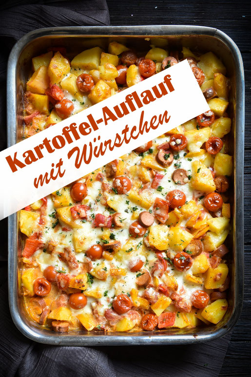 Kartoffelauflauf mit Paprika, Würstchen, Tomaten, vegetarisch, vegan möglich