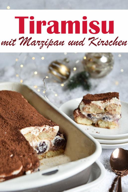 Leckeres weihnachtliches Tiramisu, das perfekte Dessert an Heiligabend, mit einer Mazipancreme und Kirschen, vegan möglich, Thermomix