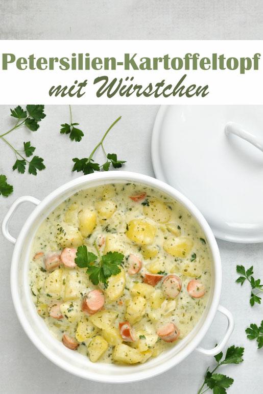 Petersilien-Kartoffeltopf mit Würstchen, Mittagessen, z.B. aus dem Thermomix, vegetarisch, vegan machbar, One Pot, All in One