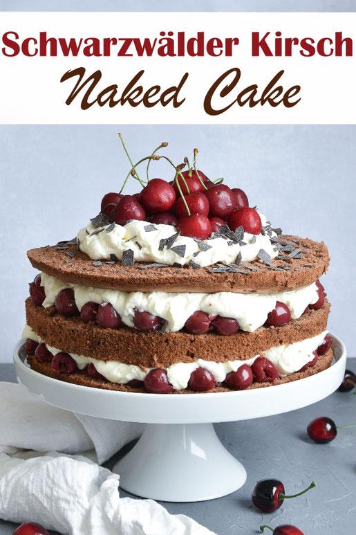 Schwarzwälder Kirsch Torte als Naked Cake, mit leckerem Biskuitboden oder alternativ in einer veganen Version. Dazwischen Sahne und Kirschen. Einfach zu machen. Lecker. Thermomix.