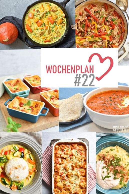 Was soll es die Woche bloß zu essen geben? Ich habe dir hier eine ganze Woche an leckeren Rezepten zusammengestellt - du kannst sie alle vegan oder vegetarisch kochen - der mix dich glücklich Wochenplan für den Thermomix - Nummer 22