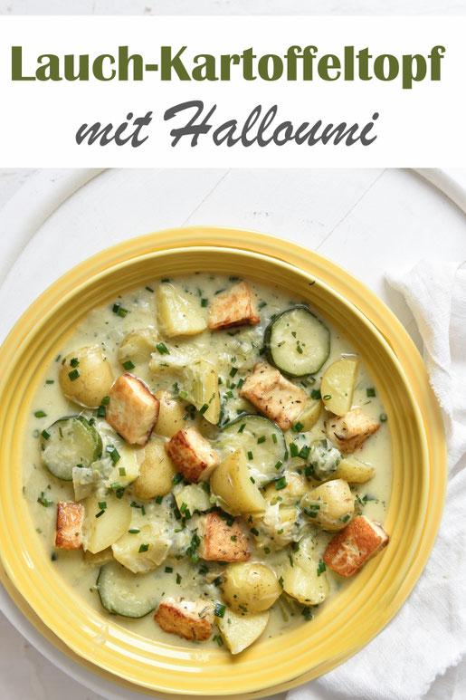 Lauch Kartoffel Topf mit Halloumi und Zucchini,  Thermomix, Familienküche, vegetarisch, Mittagessen