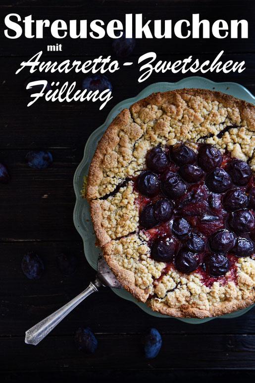 Streuselkuchen mit Amaretto Zwetschen Füllung, vegan machbar, Herbstkuchen, am besten mit Sahne servieren, Thermomix