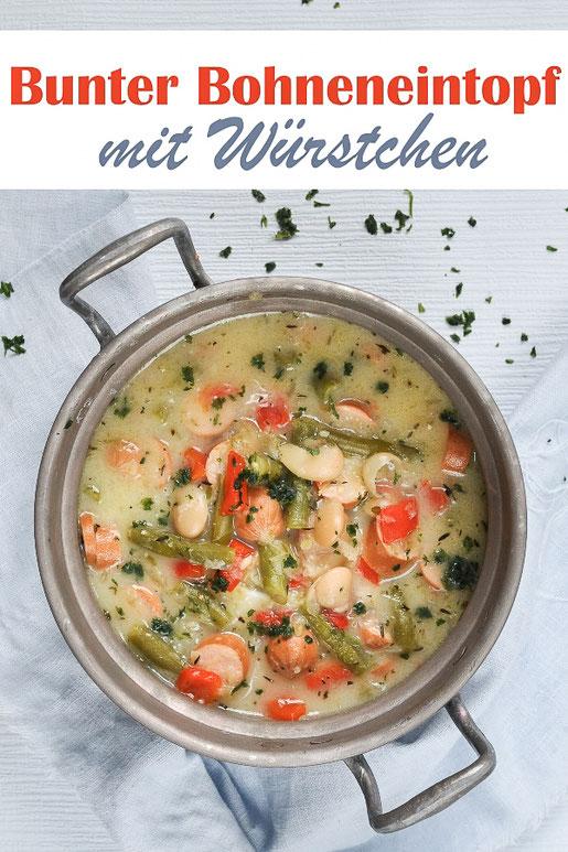Bunter und leckerer Bohneneintopf mit Würstchen, mit weißen Bohnen und grünen Bohnen, Paprika, vegetarische Wiener Würstchen oder Tofu Würstchen, vegan möglich, Thermomix
