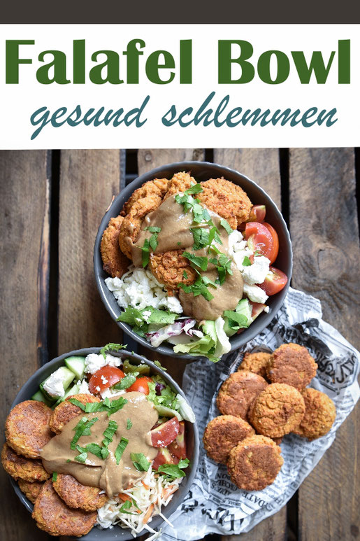 Falafel Bowl, gesund und lecker, Falafel als low fat Version aus dem Ofen, dazu jede Menge Salat und eine leckere Tahinsoße, vegetarisch, vegan machbar, Thermomix