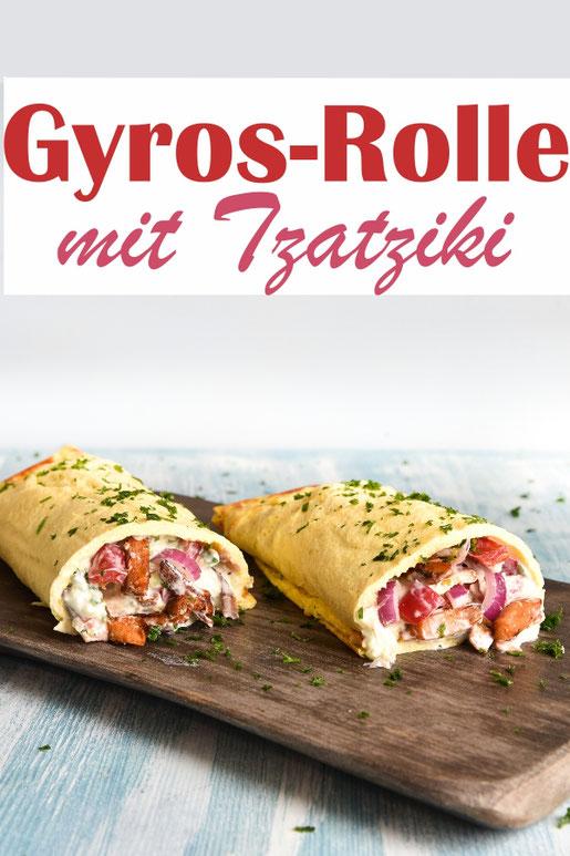 Gyros Rolle mit Tzatziki, vegetarisch machbar, mit einem low carb Teig, mit Paprika und Zwiebeln, Thermomix