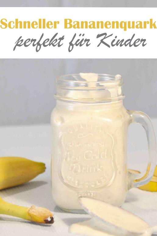 Schneller Bananenquark als Dessert oder als Abendessen, der Renner bei Kleinkindern, aus Magerquark, Joghurt und Banane