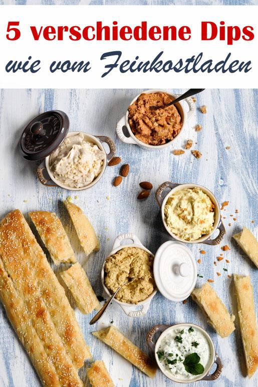5 verschiedene Dips wie vom Feinkostladen, würzig, orientalisch, scharf, süßlich, erfrischend, vegetarisch, vegan machbar, für das Partybuffet, zum Grillen, Sommerparty, Picknick, Snack