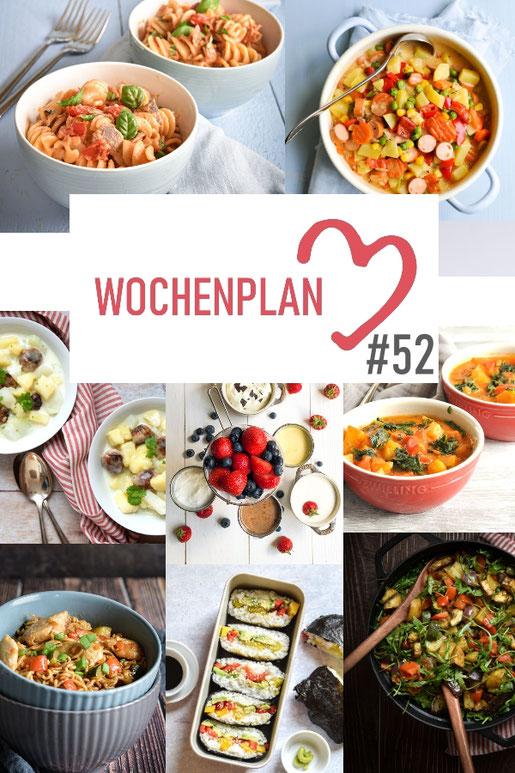 Was soll es die Woche bloß zu essen geben? Ich habe dir hier eine ganze Woche an leckeren Rezepten zusammengestellt - du kannst sie alle vegan oder vegetarisch kochen - der mix dich glücklich Wochenplan für den Thermomix - Nummer 52