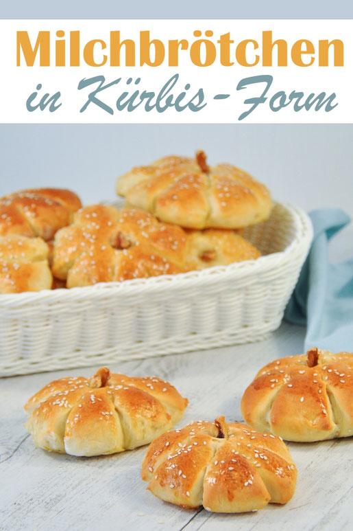 Milchbrötchen selbst gemacht in Kürbisform passend zum Herbst Brunch oder Frühstück