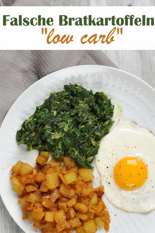 Low carb Bratkartoffeln mit Spinat und Ei, Vegetarisch, Thermomix
