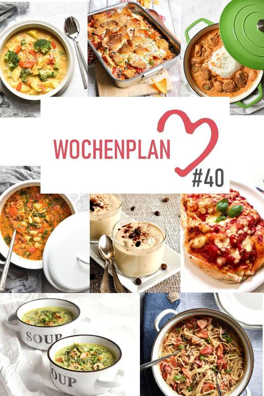 Was soll es die Woche bloß zu essen geben? Leckeres Gemüse, Pasta, Pizza oder lieber ein Curry oder Reisgericht? Hier kommt Wochenplan 40, Thermomix