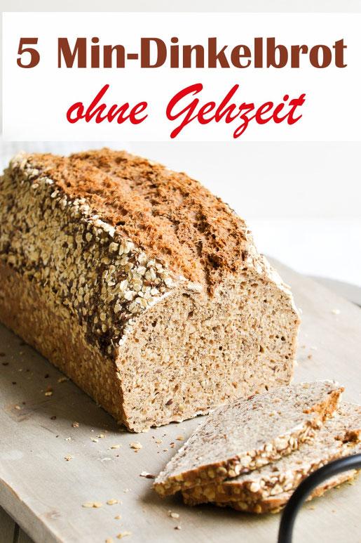 Dinkelbrot mit einer Zubereitung von nur 5 Minuten, dann kommt das Brot direkt in den Ofen und wird ca. 50 Minuten gebacken, keine Gehzeit vorher nötig.