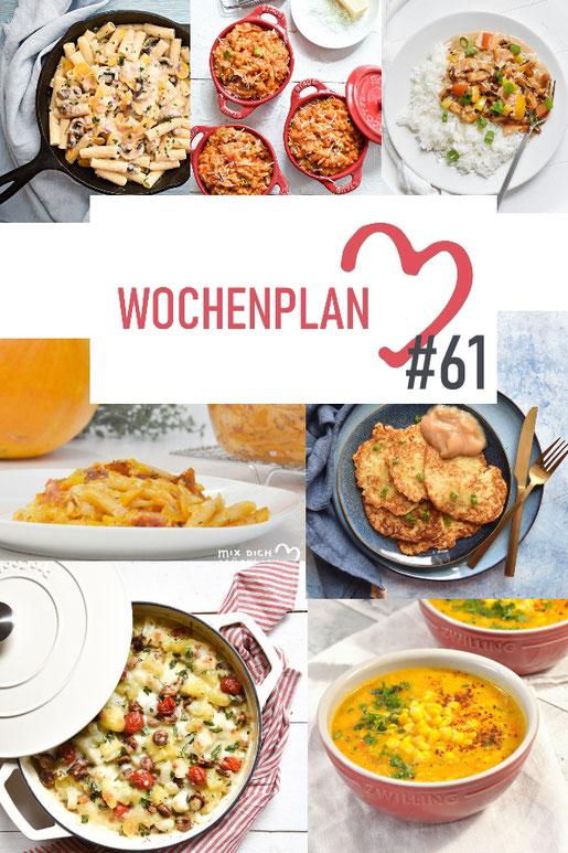Was soll es die Woche bloß zu essen geben? Ich habe dir hier eine ganze Woche an leckeren Rezepten zusammengestellt - du kannst sie alle vegan oder vegetarisch kochen - der mix dich glücklich Wochenplan für den Thermomix - Nummer 61