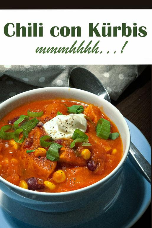 Chili con Kürbis, mit Hokkaido statt mit Hackfleisch, perfekter Herbsteintopf zum Mittagessen, mit Kidneybohnen, Mais, Tomaten, Chili nach Bedarf, vegetarisch, vegan, Thermomix