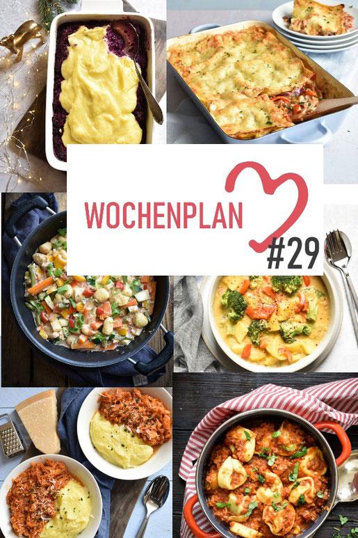 Was soll es die Woche bloß zu essen geben? Ich habe dir hier eine ganze Woche an leckeren Rezepten zusammengestellt - du kannst sie alle vegan oder vegetarisch kochen - der mix dich glücklich Wochenplan für den Thermomix - Nummer 28