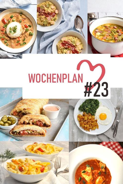 Was soll es die Woche bloß zu essen geben? Ich habe dir hier eine ganze Woche an leckeren Rezepten zusammengestellt - du kannst sie alle vegan oder vegetarisch kochen - der mix dich glücklich Wochenplan für den Thermomix - Nummer 23