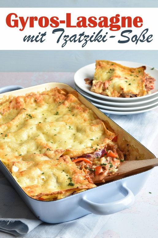 Lasagne mal anders - als Gyros-Version mit Tzatziki Soße statt Béchamel, vegetarisch, vegan möglich, z.B. Thermomix