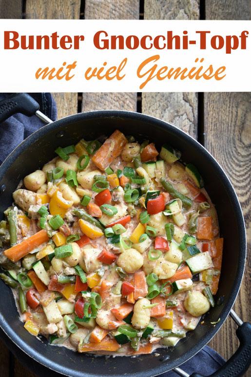 Bunter Gnocchi Topf mit viel Gemüse, Möhren, Paprika, Bohnen, Zucchini, Frühlingszwiebeln in einer cremigen Soße, vegetarisch, vegan machbar, Familienküche, leckeres Mittagessen, Thermomix All in One Rezept
