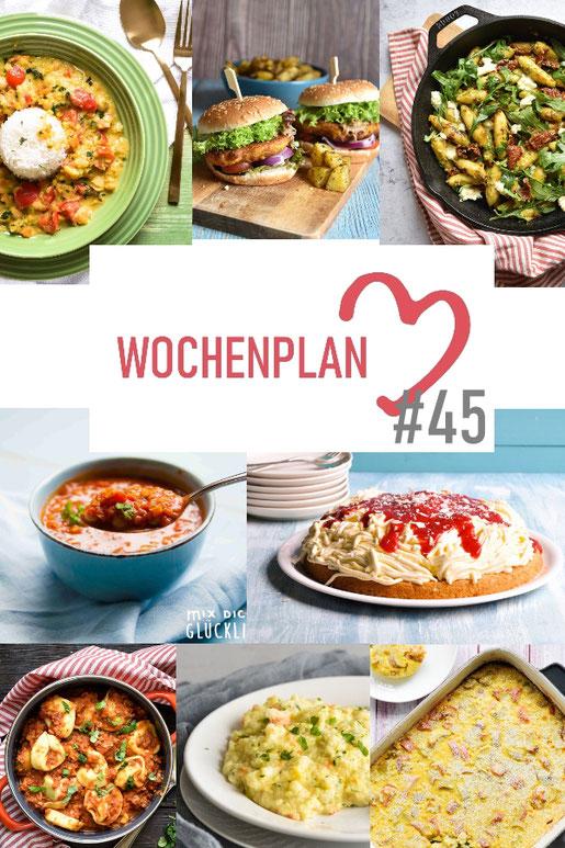 Was soll es die Woche bloß zu essen geben? Ich habe dir hier eine ganze Woche an leckeren Rezepten zusammengestellt - du kannst sie alle vegan oder vegetarisch kochen - der mix dich glücklich Wochenplan für den Thermomix - Nummer 45