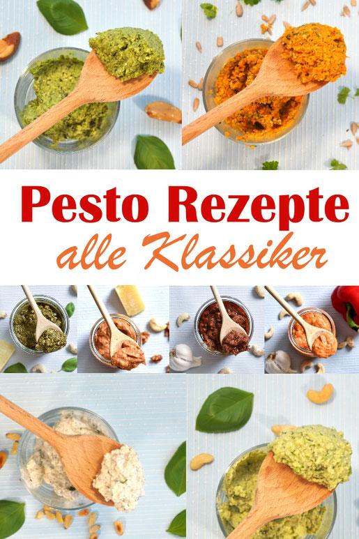 Klassische Pesto Rezepte im Überblick, Pesto Rosso, Genovese, Calabrese, Ricotta Walnuss, Möhrenpesto, Erbsenpesto, Avocadopesto, Ricotta-Basilikum-Pesto, vegetarisch, Thermomix
