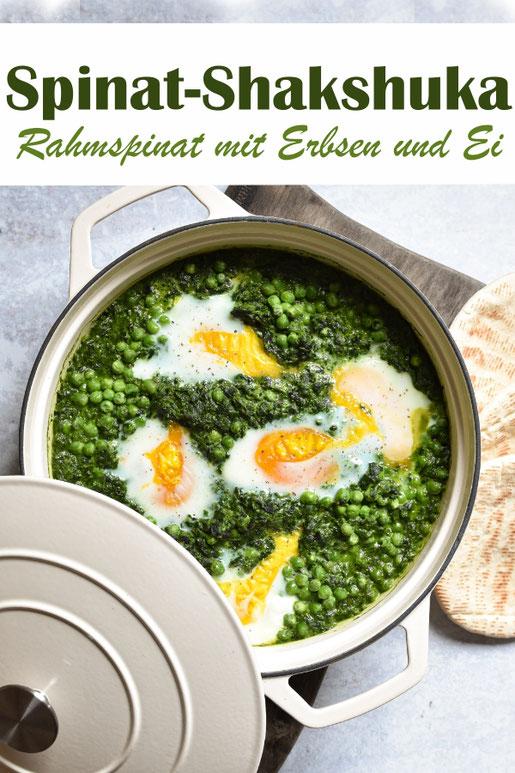 Spinat Shakshuka, grüne Shakshuka - Rahmspinat mit Erbsen und Ei, orientalisch oder klassisch gewürzt, vegetarisches Mittagessen, Thermomix