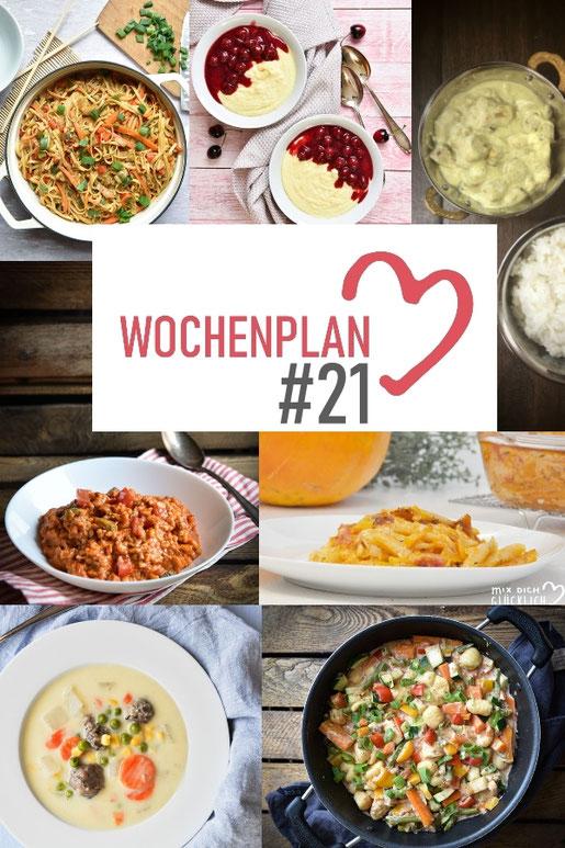 Was soll es die Woche bloß zu essen geben? Ich habe dir hier eine ganze Woche an leckeren Rezepten zusammengestellt - du kannst sie alle vegan oder vegetarisch kochen - der mix dich glücklich Wochenplan für den Thermomix - Nummer 21