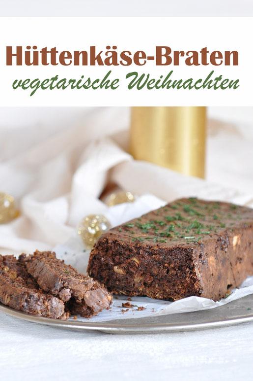 vegetarische Weihnachten mit diesem Hüttenkäse-Braten, glutenfrei möglich, Thermomix