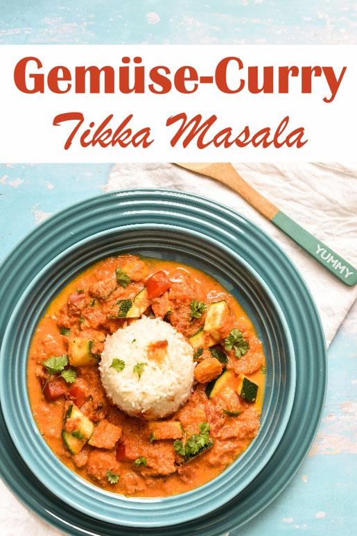 Leckeres Gemüse Curry nach indischer Tikka Masala Art, vegetarisch oder vegan, z.B. aus dem Thermomix, dazu passt Reis