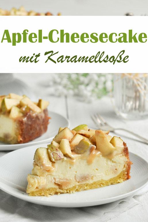 Apfel Cheesecake mit Karamellsoße und Marzipan, Käsekuchen, vegan möglich, Thermomix