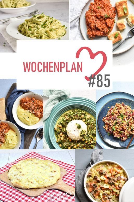 Was soll es die Woche bloß zu essen geben? Ich habe dir hier eine ganze Woche an leckeren Rezepten zusammengestellt - du kannst sie alle vegan oder vegetarisch kochen - der mix dich glücklich Wochenplan für den Thermomix - Nummer 85