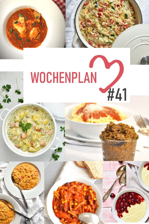 Was soll es die Woche bloß zu essen geben? Leckeres Gemüse, Pasta, Pizza oder lieber ein Curry oder Reisgericht? Hier kommt Wochenplan 41, Thermomix