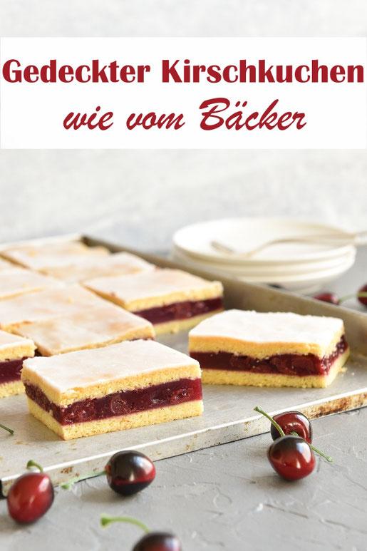 Gedeckter Kirschkuchen wie vom Bäcker, abgewandelte Version vom Apfelmuskuchen, vegan möglich, z.B. aus dem Thermomix