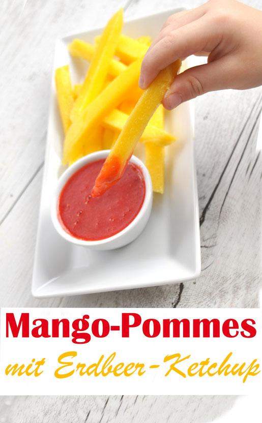 Mangos in Form von Pommes frites mit Ketchup aus Erdbeeren - ein super Frucht Snack für Kinder