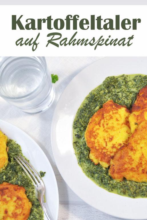 Kartoffeltaler auf Rahmspinat, vegetarisches Mittagessen, Thermomix