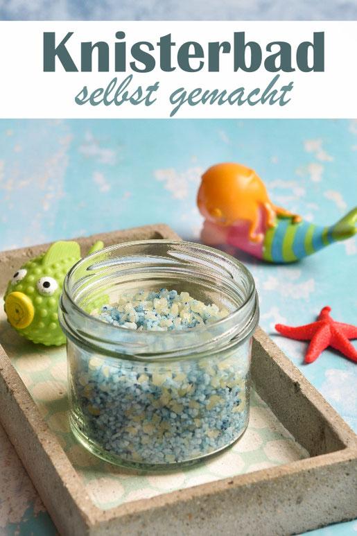 Knisterbad für Kinder selbst gemacht aus Salz, Lebensmittelfarbe, Öl und Knisterzucker, toller Badespaß für die Kleinen, tolle Geschenkidee zu Weihnachten und Ostern