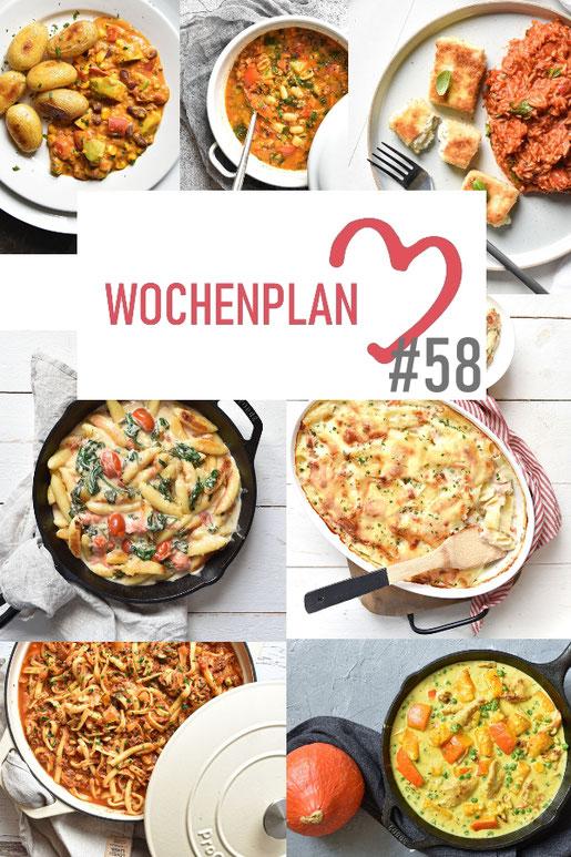 Was soll es die Woche bloß zu essen geben? Ich habe dir hier eine ganze Woche an leckeren Rezepten zusammengestellt - du kannst sie alle vegan oder vegetarisch kochen - der mix dich glücklich Wochenplan für den Thermomix - Nummer 58