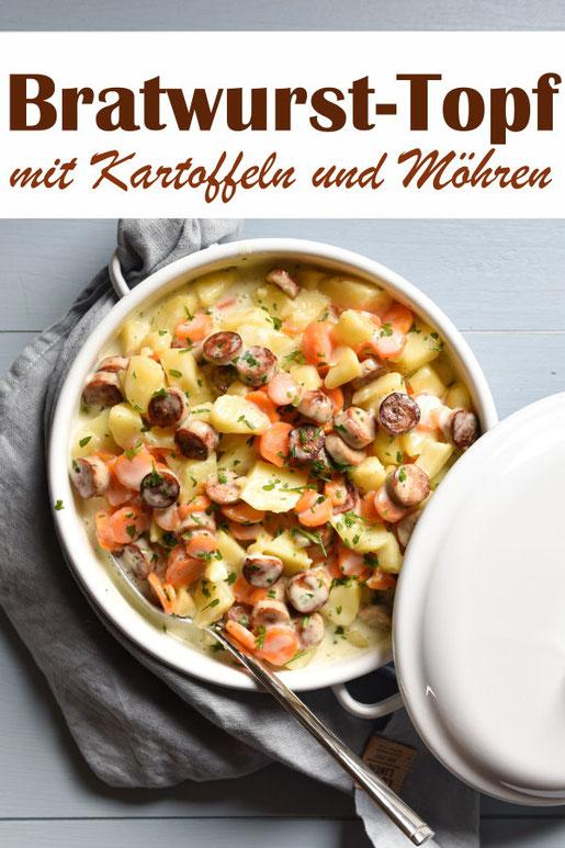 Bratwurst-Topf mit Kartoffeln und Möhren aus dem Thermomix, einfach zu machen, Familienküche, vegetarisch, vegan machbar, Mittagessen