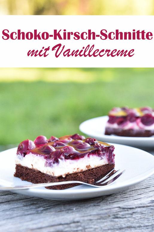 Ein Knaller auf dem Kuchenbuffet sind diese Kirsch-Schoko-Schnitten mit Vanillecreme, glutenfrei und vegan möglich, z.B. aus dem Thermomix, Blechkuchen zum Geburtstag, Ostern, Weihnachten